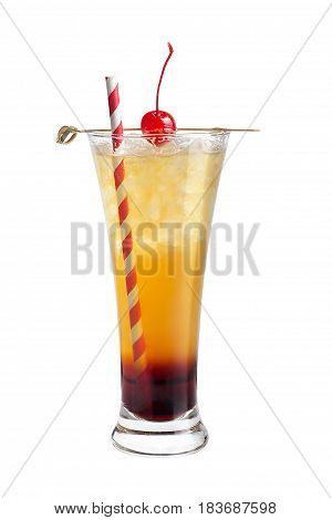 Alcohol Cocktail With A Tube And Maraschino Cherry On A White Background