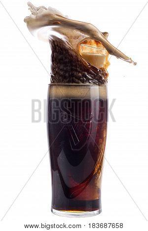 Glass Of Dark Beer On A White Background, Splash