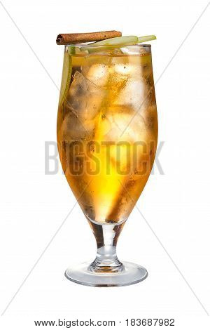 Alcoholic Cocktail With Apple And Cinnamon. Refreshing Cocktail On White Background