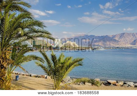 View on the Red Sea from central public beach of Eilat - number one resort and recreational city in Israel located on the Red Sea