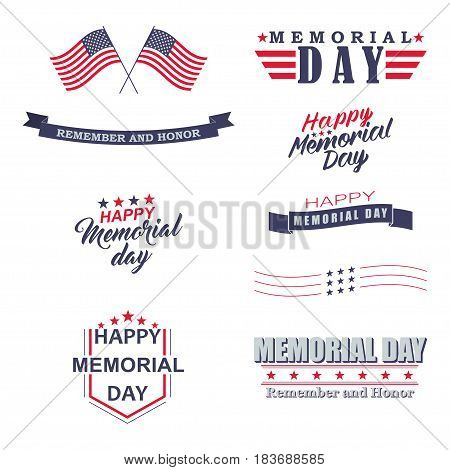 Memorial day design elements. Happy Memorial Day, Remember and Honor lettering for holiday design. Isolated on white background. Vector illustration.