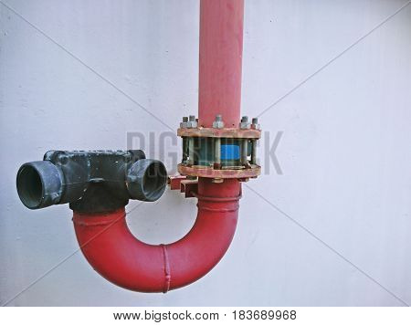 Water pipe for firefighters on the wall