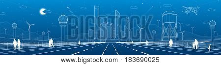 Infrastructure panorama. Large highway, business center, architecture and urban, neon city, wind turbines, water tower,  white lines, dynamic composition, vector design art