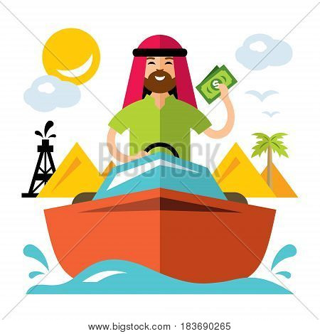 Man swims on a yacht. Isolated on a white background