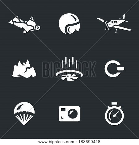 Skydiver, helmet, airplane, mountain, air flow, ring, parachute, camera, stopwatch.