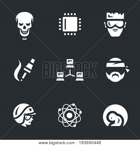 Skeleton, microcircuit, robot, soldering iron, network, bandit, police, nucleus, embryo.