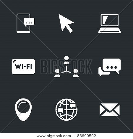 Smartphone, cursor, laptop, wi-fi, network, communication, pointer, world, message.