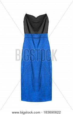 Strapless satin dress with blue skirt on white background
