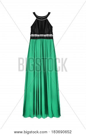 Long halter dress with cyan chiffon skirt on white background