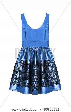 Blue satin sleeveless mini dress isolated over white
