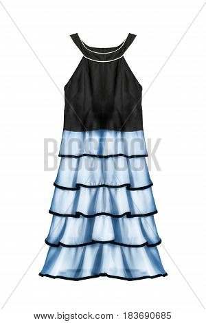 Elegant halter dress with blue chiffon ruches isolated over white