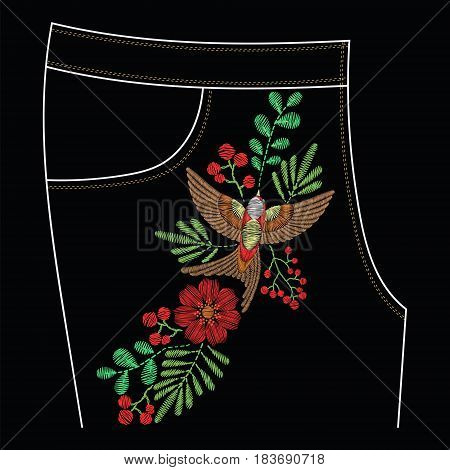 Embroidery stitches for jeans pocket, floral pattern with swallow bird, roses, wild flowers. Vector fashion embroidered ornament on black background for textile, fabric traditional folk decoration.