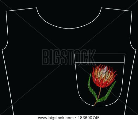 Embroidery protea for t-shirt pocket, neckline. Vector fashion embroidered flower ornament, fancywork pattern for textile, fabric traditional folk decoration.