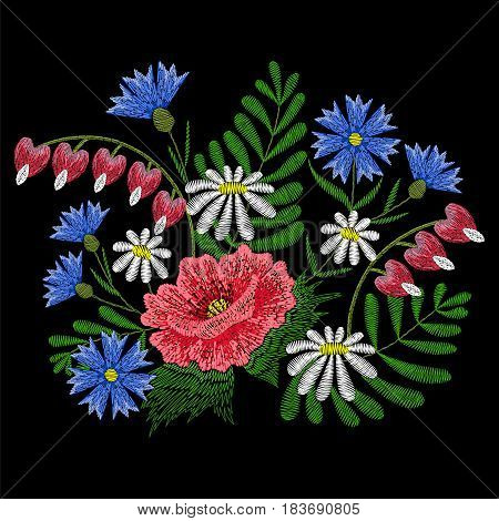 Embroidery stitches with chamomile, red poppy, Broken Heart flowers, cornflower fashion patch. Vector embroidered ornament on black background, ethnic pattern.