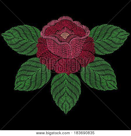 Embroidery patch with rose flower. Vector fashion embroidered ornament on black background, fancywork pattern for textile, fabric traditional folk decoration.