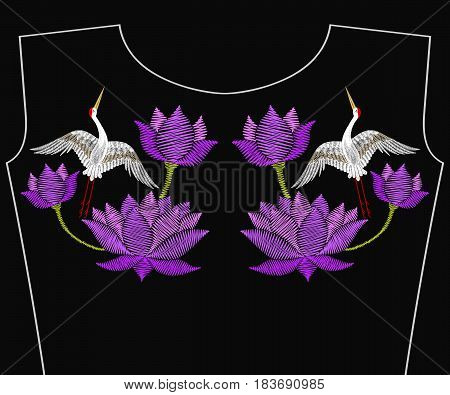 Embroidery  lotus flower with Asian crane bird for neckline. Vector fashion embroidered floral ornament, fancywork pattern for textile, fabric traditional folk decoration.
