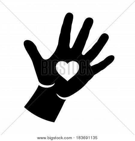 Hand with heart emblem icon sign. Logo vector illustration