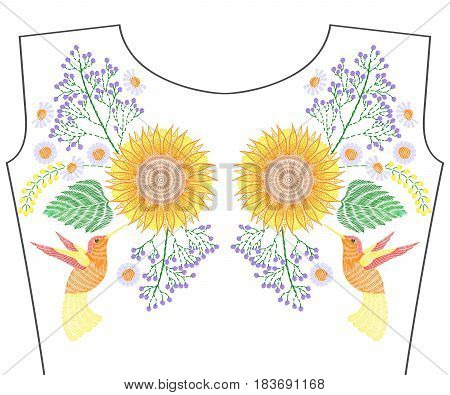 Embroidery hummingbird with sunflower, wildflowers, summer chamomile for neckline. Vector fashion embroidered floral ornament, fancywork pattern for textile, fabric traditional folk decoration.