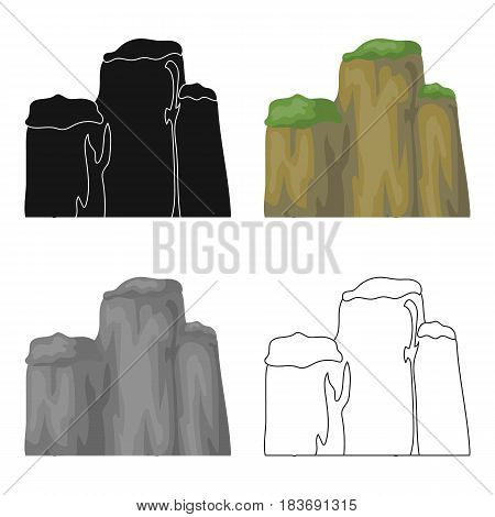 High green mountain with bushes on top.Different mountains single icon in cartoon style vector symbol stock web illustration.
