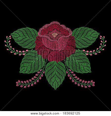 Embroidery rose flower. Vector fashion embroidered ornamental badge on black background, fancywork pattern for textile, fabric traditional folk decoration.
