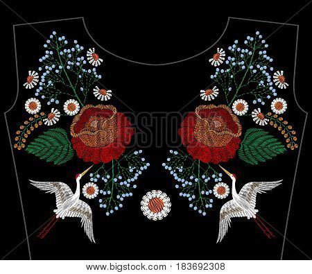 Embroidery asian crane with rose, spring flowers, chamomile for neckline. Vector fashion embroidered floral ornament, fancywork pattern for textile, fabric traditional folk decoration.