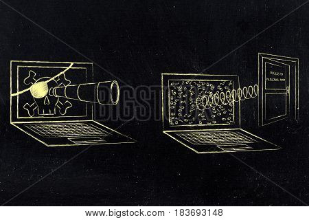 Pirate Laptop Spying On Another With Open Personal Data Door Popping Out Of The Screen