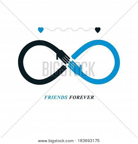 Infinity Sign With Two Hands Touching Each Other, Infinite Friendship Concept, Forever Friends Vecto