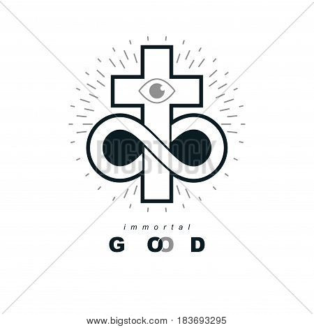 Everlasting Christian Belief In God Vector Creative Symbol Design, Combined With Infinity Endless Lo