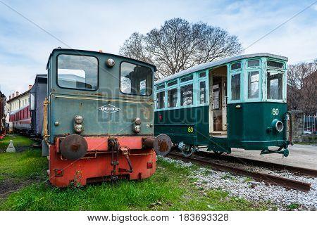 Trieste (Friuli Venezia Giulia region) - March 2016, Italy: Old locomotive and tram in Railroad Museum (Museo Ferroviario di Trieste)
