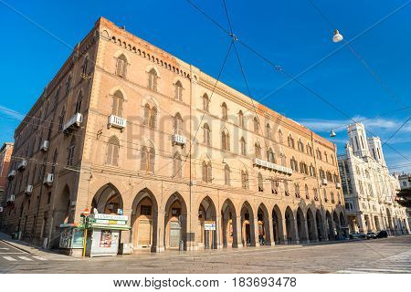 Cagliari, Sardinia - January 2016, Italy: Palace Vivanet and Town Hall of Cagliari, popular landmarks in Sardinia's capital, wide angle view