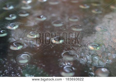 Condensation on the glass of the aquarium closeup