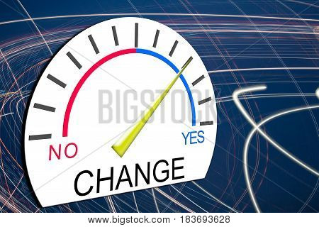 Concept of Change Innovate Improve Involve Speedometer 3d