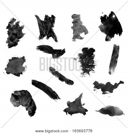 Watercolor splashes. Set of watercolor stains. Paint spots. The black. Vector illustration