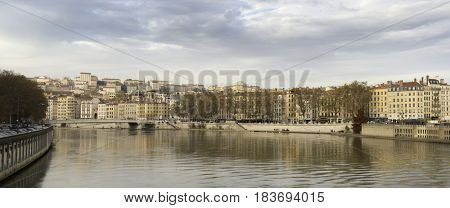 Lyon city by the river