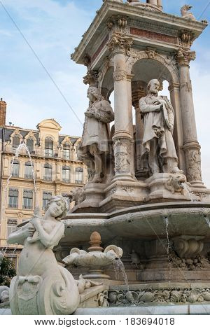 Fountain at Place de Jacobins in Lyon
