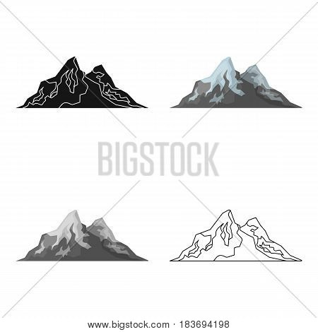 Sharp mountains, on the tops of which the snow melts.Different mountains single icon in cartoon style vector symbol stock web illustration.