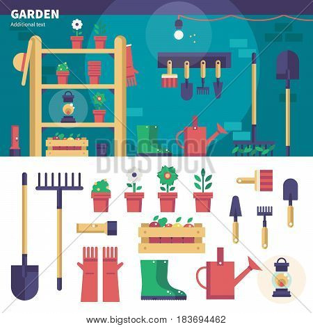 Geometric illustartion of gardening equipment. Household tools for gardening in the shed, watering-can, plants, gloves, shovel and pots isolated on white background