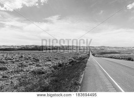 Colorado State Highway 139 In Monochrome
