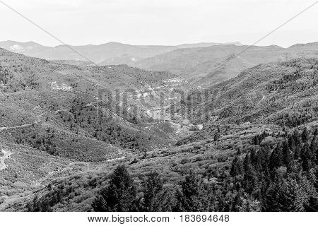 Mountains And Canyons In Monochrome