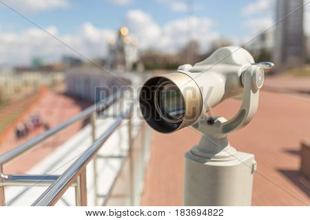 Stationary observation binoculars in sity close up poster