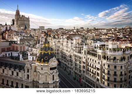 Madrid city center and gran via by day, Spain