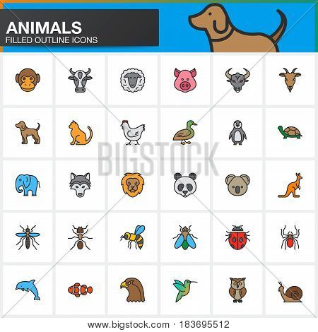 Animals colorful line icons set filled outline vector symbol collection linear pictogram pack isolated on white. Signs logo illustration