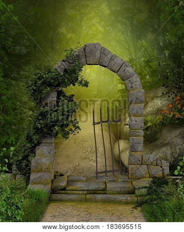 3D painting of a beautiful stone portal and a magic path through a lush green forest.