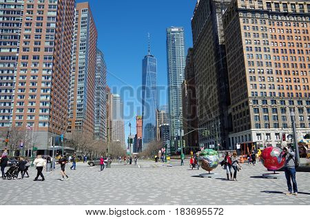 New York City - April 2, 2017: World Trade Center Freedom Tower from Battery Park in Manhattan, New York.
