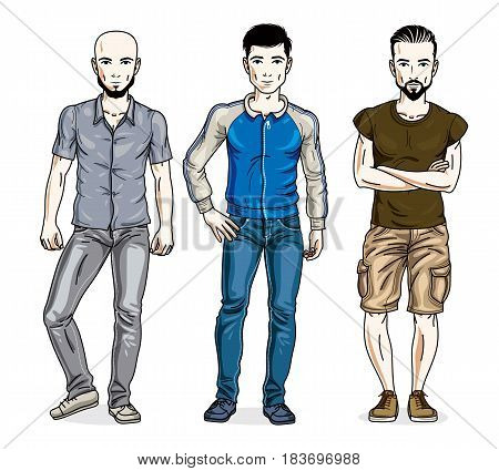 Handsome Men Group Standing Wearing Casual Clothes. Vector Set Of Beautiful People Illustrations.