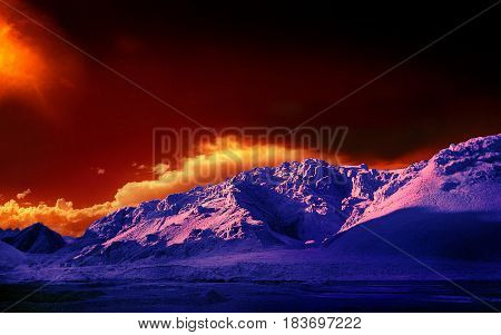 Colored mountains of Tibet. The survey was conducted in the infrared range. The photos were painted in bright, beautiful colors.