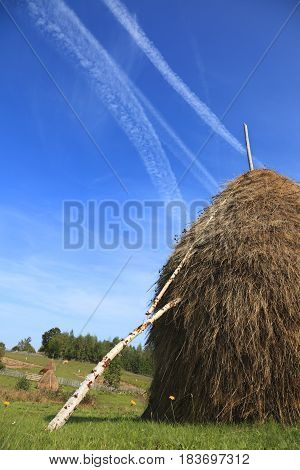 Image of a hayrick in a field against a blue sky with airplane traces.