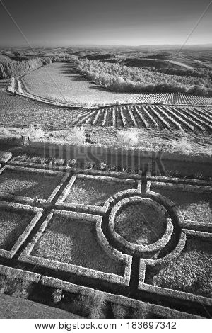 Infrared geometric landscape of Italy. The survey was conducted in the infrared range. It turned out a classic black and white photo.
