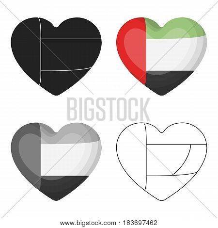 United Arab Emirates heart icon in cartoon style isolated on white background. Arab Emirates symbol vector illustration.