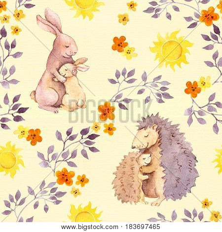 Mother rabbit and mom hedgehog hugging baby animal. Watercolor painted seamless pattern